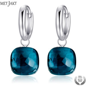 Classic Blue Topaz Drop Earrings Solid 925 Sterling Silver by MetJakt
