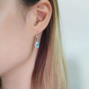 Sky Blue Topaz Drop Earrings 925 Sterling Silver
