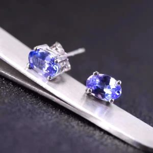 Natural Oval Tanzanite Stud Earrings 1