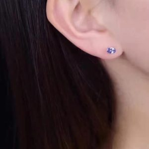 Natural Oval Tanzanite Stud Earrings 3